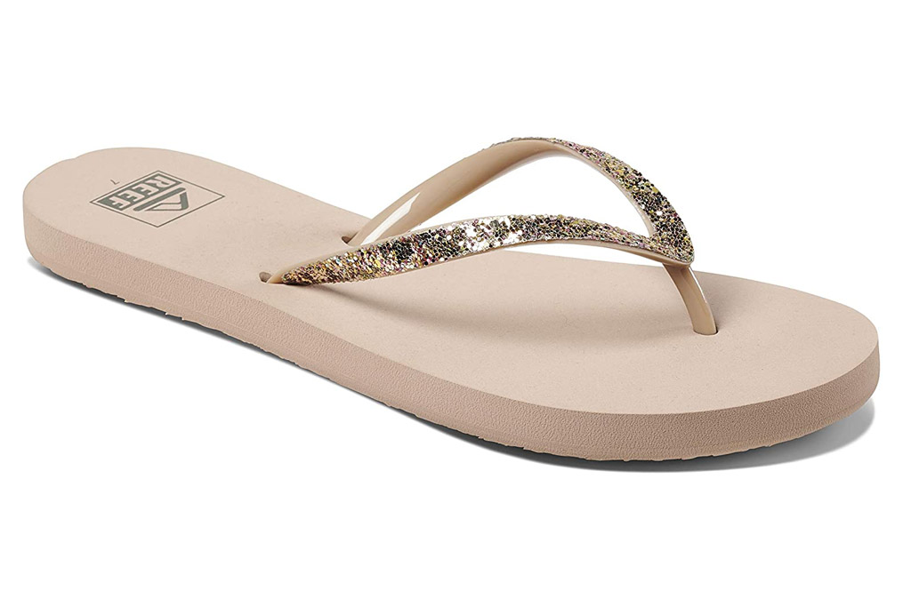 reef, gold flip flops, glitter