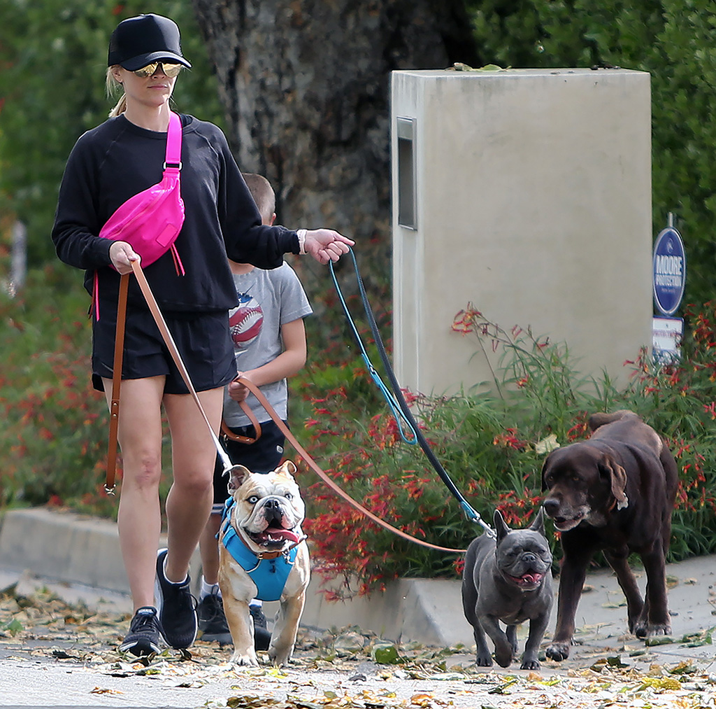 Reese Witherspoon, hoka one one clifton sneakers, running shoes, rebecca minkoff bag, shorts, legs, dogs, son, Reese Witherspoon out and about, Pacific Palisades, Los Angeles, USA - 06 Apr 2020