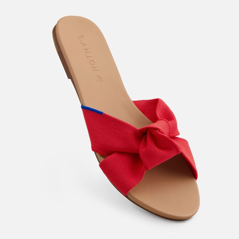 rothys, sandal, the knot, red