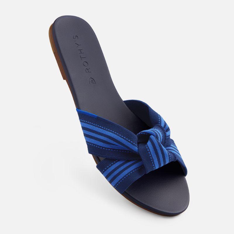 rothys, sandal, the knot, blue, cobalt