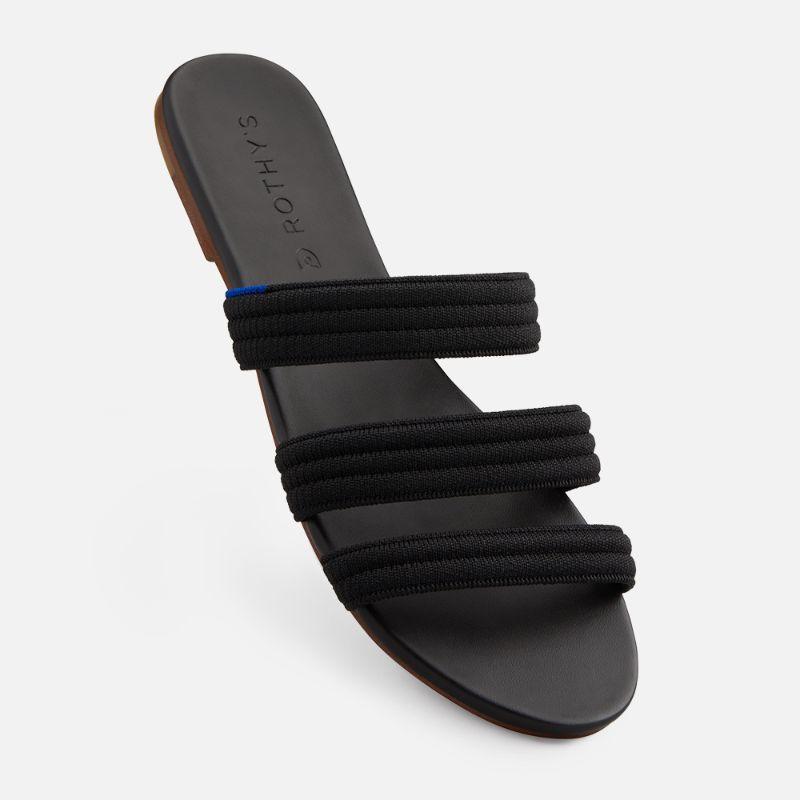 rothys, sandals, black, stripe, triple band