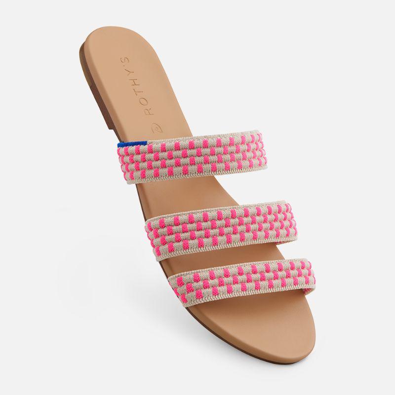 rothys, sandal, pink, stripe, triple band
