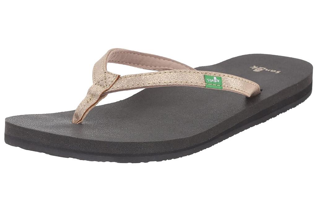 sanuk, gold flip flops