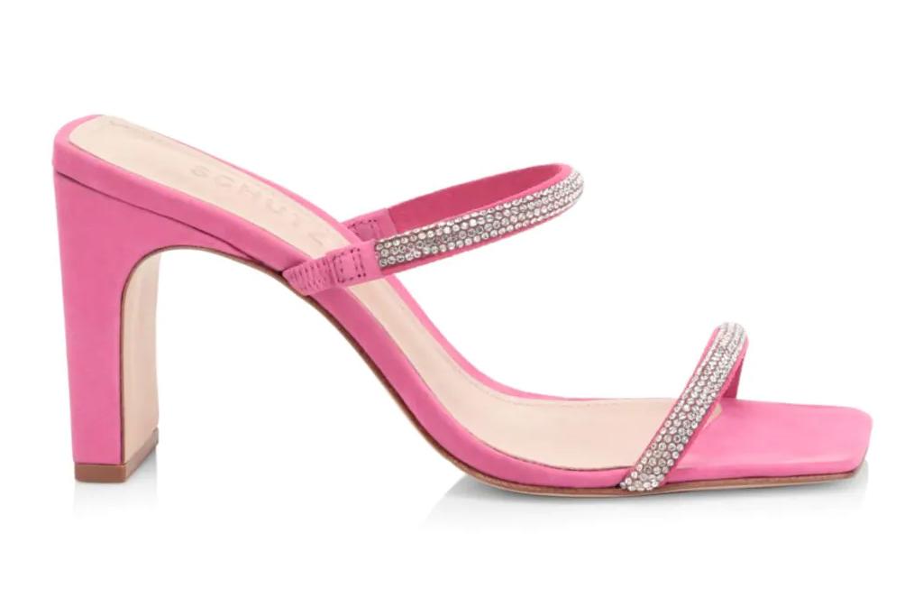 schutz, pink, mules, glitter