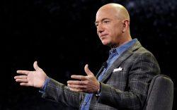 Amazon CEO Jeff Bezos speaks at