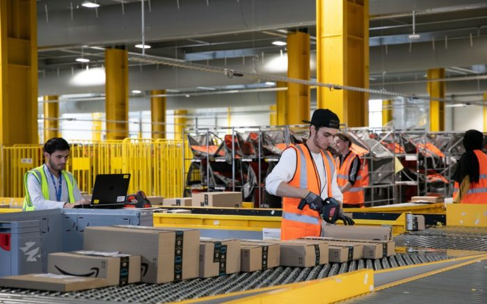 The warehouse of Amazon Logistics France, with an area of 13,000 m2, is dedicated to the delivery of customers in the Paris region, within a period of 24 hours after ordering.Amazon Logistics centre, Velizy, France - 23 Sep 2019