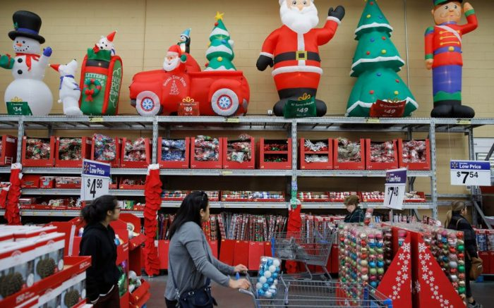 People shop in a holiday section at a Walmart Supercenter, in Las Vegas. Black Friday once again kicks off the start of the holiday shopping season. But it will be the shortest season since 2013 because of Thanksgiving falling on the fourth Thursday in November, the latest possible date it can beHoliday Shopping, Las Vegas, USA - 27 Nov 2019