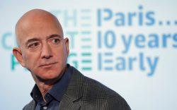 Amazon CEO Jeff Bezos speaks during