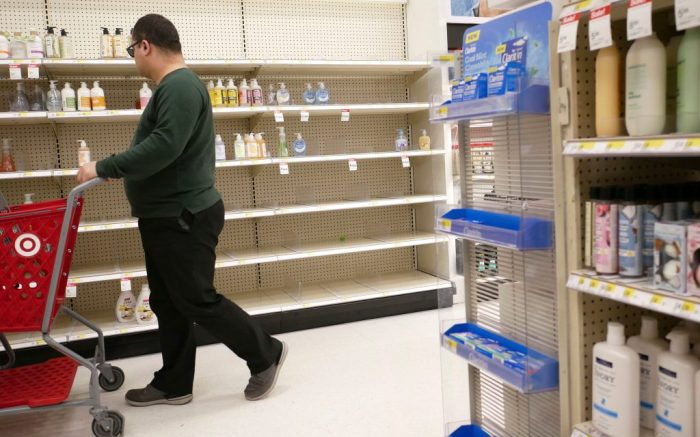 Target, Shelves that held hand sanitizer and hand soap are mostly empty at a Target in Jersey City, N.JVirus Outbreak New Jersey, Jersey City, USA - 03 Mar 2020