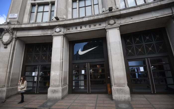 The closed down Nike store in Oxford street in London, Britain, 16 March 2020. Several European countries have closed borders, schools as well as public facilities, and have cancelled most major sports and entertainment events in order to prevent the spread of the SARS-CoV-2 coronavirus causing the Covid-19 disease.Coronavirus in Britain, London, United Kingdom - 16 Mar 2020