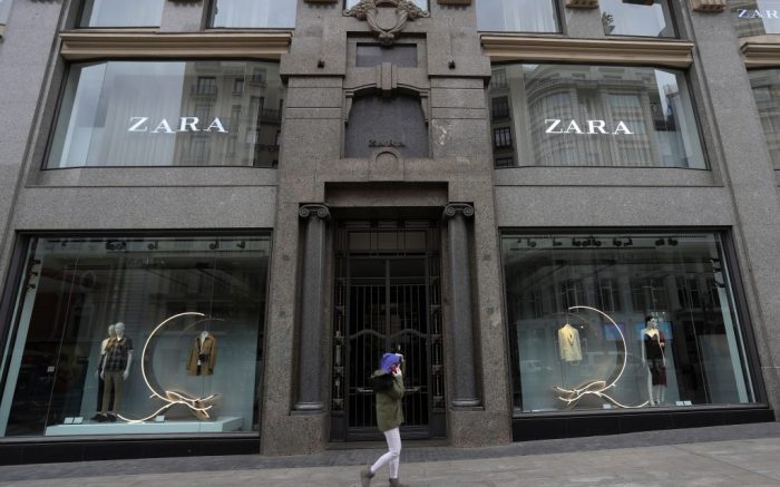 A woman walks past a closed Zara store in downtown Madrid, Spain, 20 March 2020. The pandemic caused an unexpected economic crisis. Spain faces the sixth day of national lockdown on 20 March in an effort to slow down the spread of the pandemic COVID-19 disease. According to the latest figures provided by the health ministry, there are at least 18,074 confirmed coronavirus infections throughout Spain, while 832 people have died so far in the Mediterranean country.Coronavirus crisis, Madrid, Spain - 20 Mar 2020