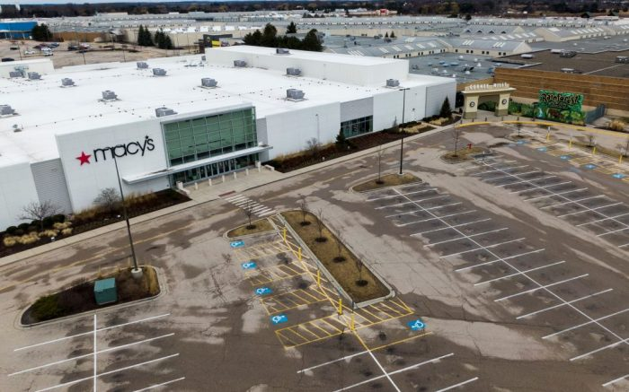 An aerial photo made with a drone shows The Macy's department store and an entrance to the now closed Gurnee Mills Mall in Gurnee, Illinois, USA, 20 March 2020. The mall owner, Simon Property Group has closed the mall after many stores reduced hours or closed completely due to the coronavirus SARS-CoV-2 which causes the Covid-19 disease.Gurnee Mills Mall closes due to Coronavirus Covid-19, USA - 20 Mar 2020