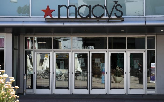 A closed Macy's department store in Walnut Creek, California, USA, 01 April 2020. Macy's is to furlough majority of its 130 thousand workers in response to collapsing sales and closed stores due the coronavirus COVID-19 outbreak. Other department stores annouced workforce layoffs as well. The Gap will layoff up to 80 thousand workers, and Kohl's department store plans to layoff 80 thousand.Macy's To Furlough 130,000 Workers, Walnut Creek, USA - 01 Apr 2020
