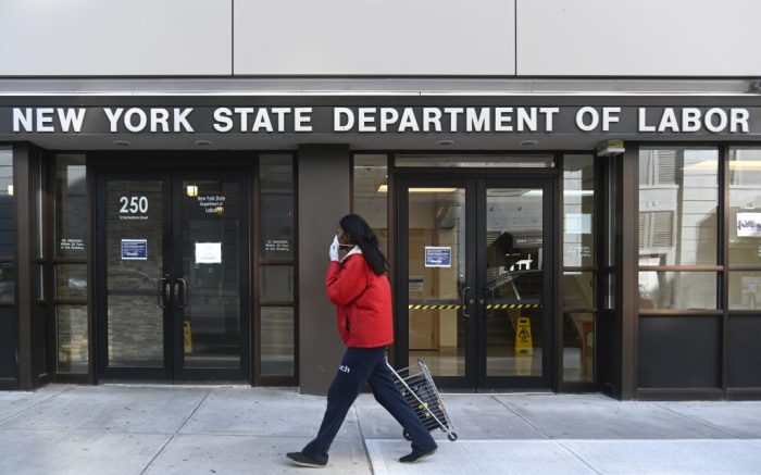 The New York Department of Labor building in Downtown Brooklyn. The coronavirus pandemic has led to lay-offs and a surge in unemployment claims.Coronavirus outbreak, New York, USA - 01 Apr 2020