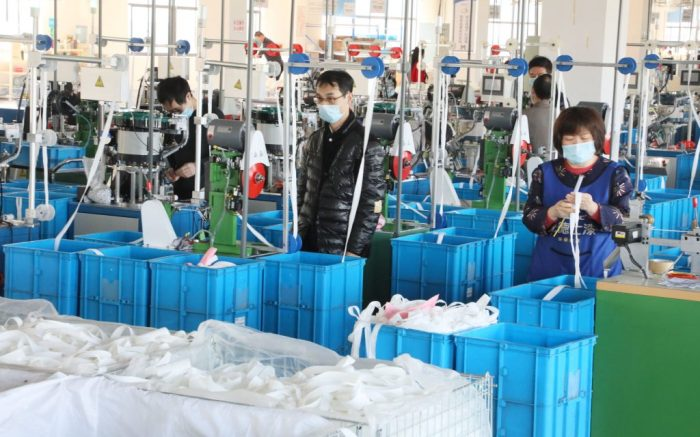 The factory is producing special zipper for protective clothing to help medical workers fight against novel coronavirus in Wuxi, Jiangsu, ChinaCoronavirus outbreak, China - 01 Apr 2020