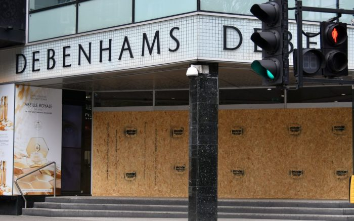 Debenhams board up in locked-down London, as exclusive shops and hotels shut and boarded up in closed-down London, as break-in fears grow and stores anticipate civil unrestCoronavirus Lockdown, London, UK - 08 Apr 2020Debenhams board up in locked-down London, as exclusive shops and hotels shut and boarded up in closed-down London, as break-in fears grow and stores anticipate civil unrest. The lockdown continues for the Coronavirus (Covid 19) outbreak in London.