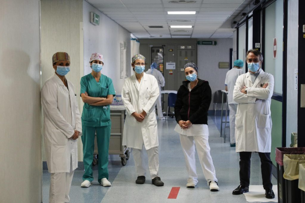Health care professionals working in the intensive care unit (ICU) for patients infected with the coronavirus disease (COVID-19), pose for a photograph at the Policlinico di Tor Vergata hospital, in Rome, Italy, 10 April 2020.Coronavirus in Italy, Rome - 10 Apr 2020