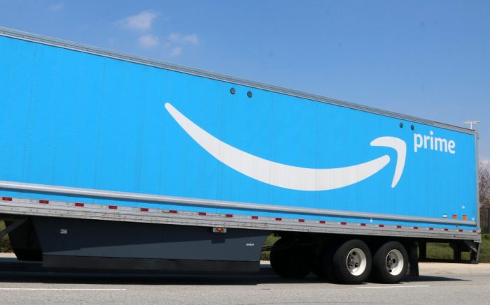 Amazone Prime TruckAmazon Fulfillment Center, San Bernardino, California - 11 Apr 2020