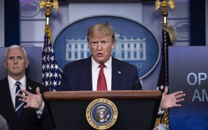 President Donald Trump speaks about the coronavirus, accompanied by Vice President Mike Pence, in the James Brady Press Briefing Room of the White House, in WashingtonVirus Outbreak Trump, Washington, United States - 16 Apr 2020