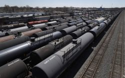 Oil tank train cars sit idle,
