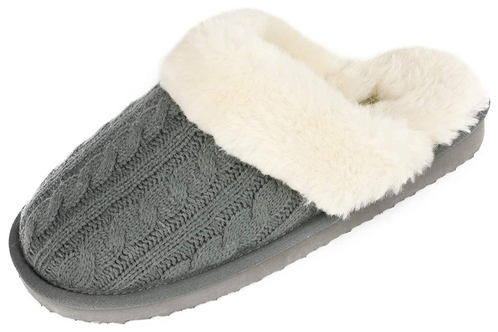 DREAM PAIRS Women's Cable Knit Faux Fur Mules Comfy Slippers