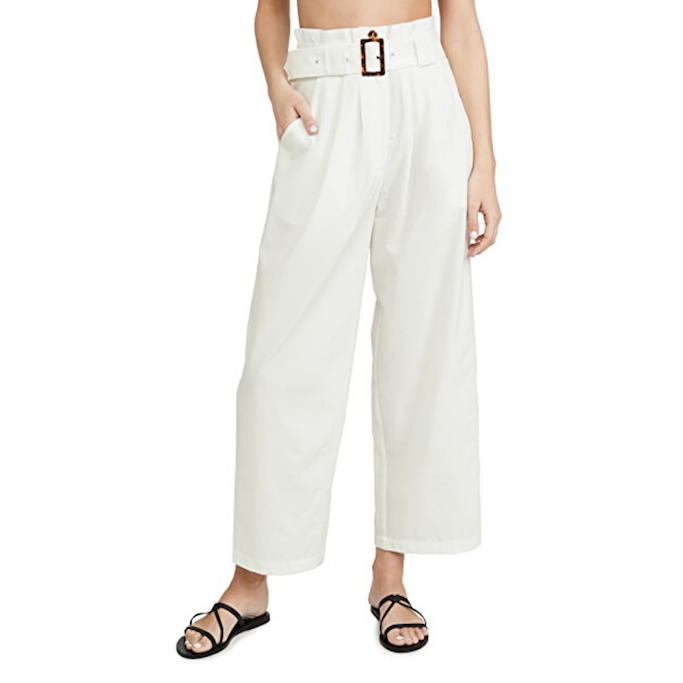 Solid-and-Striped-Belted-Pants