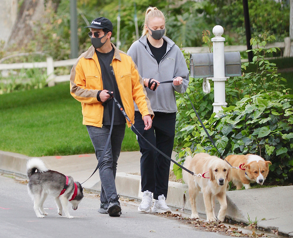 Joe Jonas steps out of quarantine to walk his dogs with wife Sophie Turner. 20 Apr 2020 Pictured: Joe Jonas steps out of quarantine to walk his dogs with wife Sophie Turner. Photo credit: MEGA TheMegaAgency.com +1 888 505 6342 (Mega Agency TagID: MEGA650382_011.jpg) [Photo via Mega Agency]