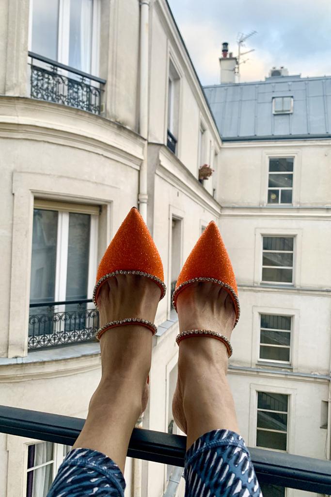 amina muaddi shoes, heels, work from home shoes, orange