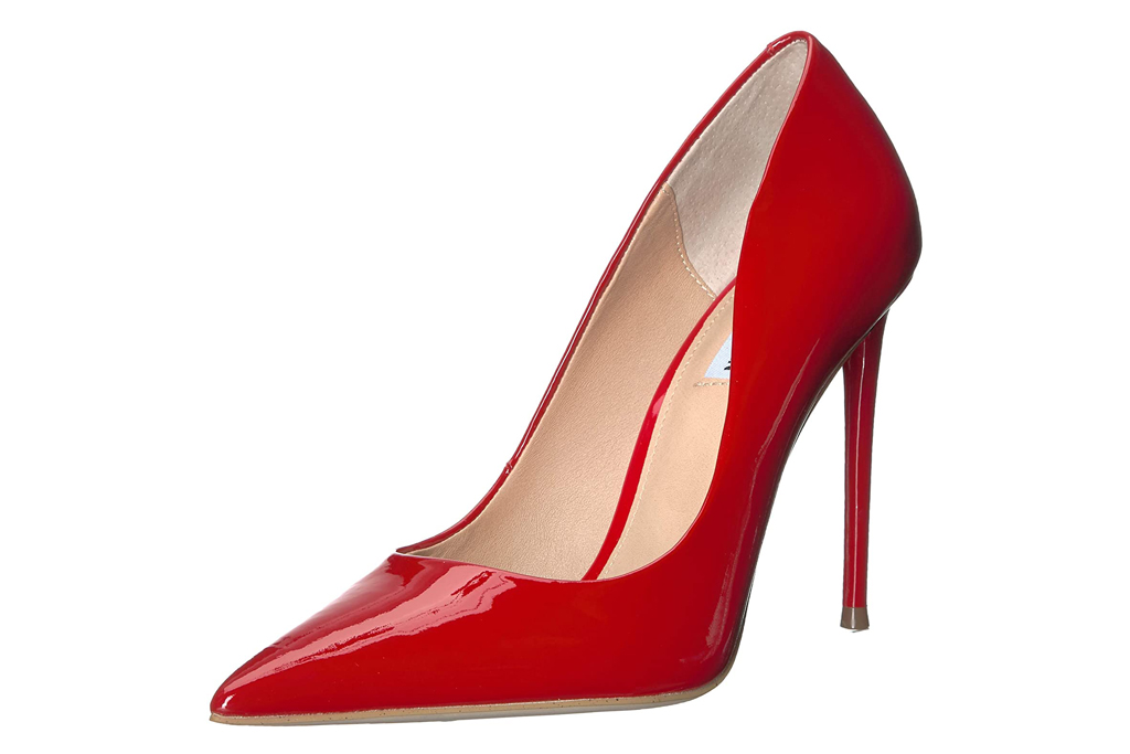 steve madden, red heels, patent red, pumps