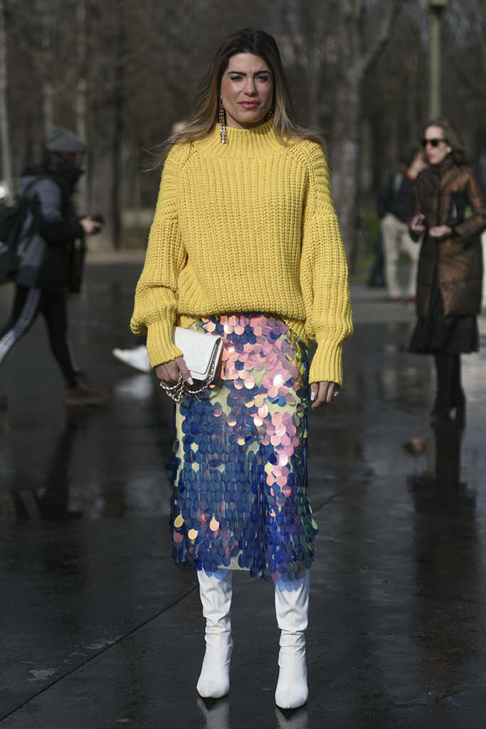 work from home, street style, sparkly skirt, sweater, boots,