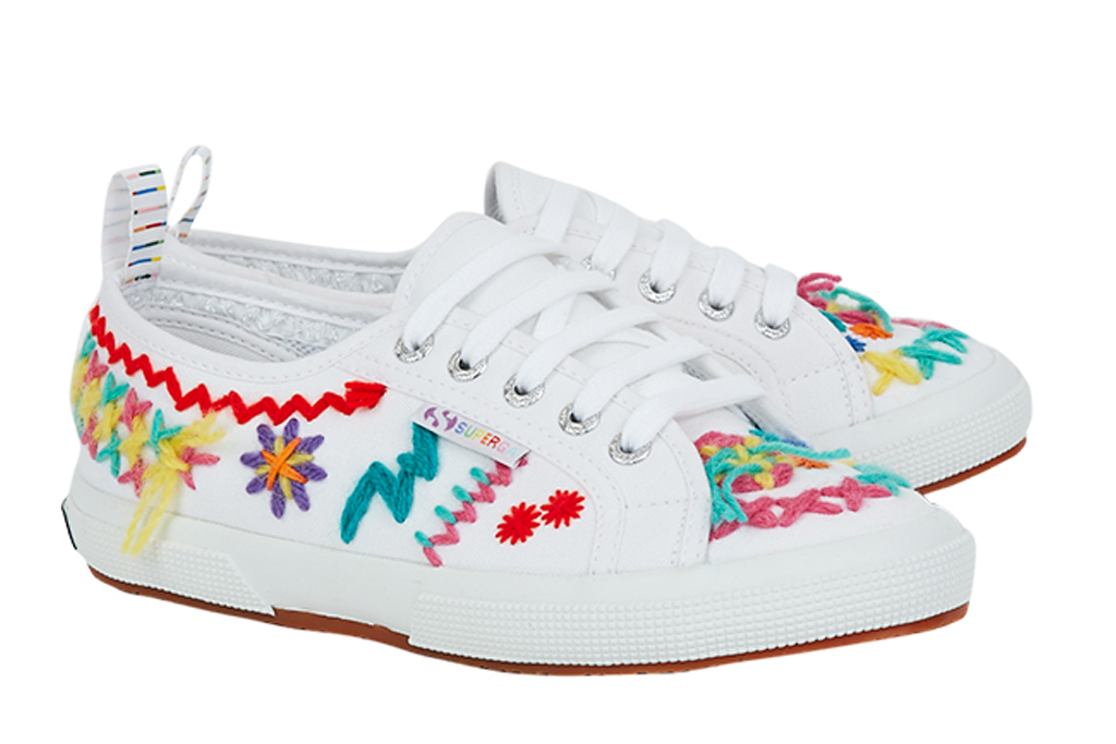 superga, mira mikati, sneakers, rainbow, white