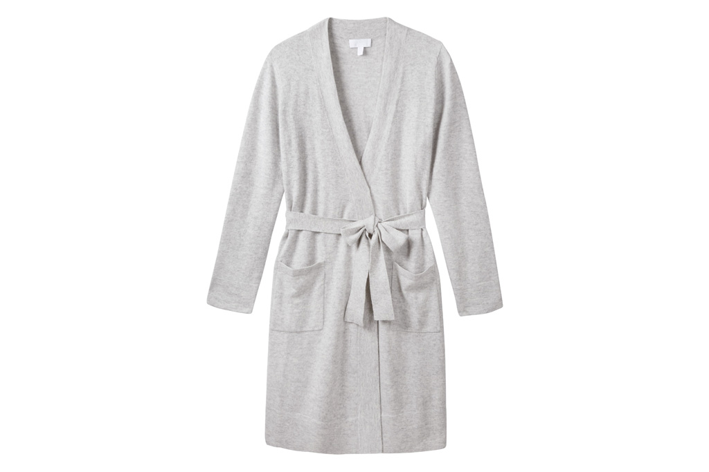 the white company, robe, cashmere, soft, gray, grey