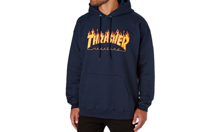 ibbed stretch side panels for mobilityclassic Thrasher flame logo