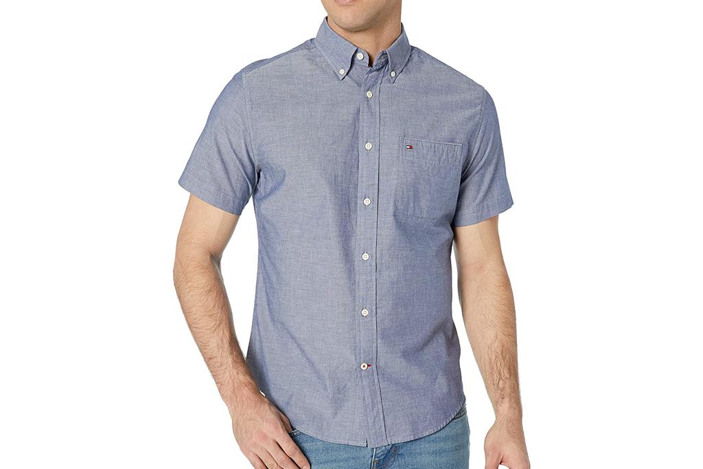 tommy hilfiger, untucked shirt, button up shirt, short sleeve
