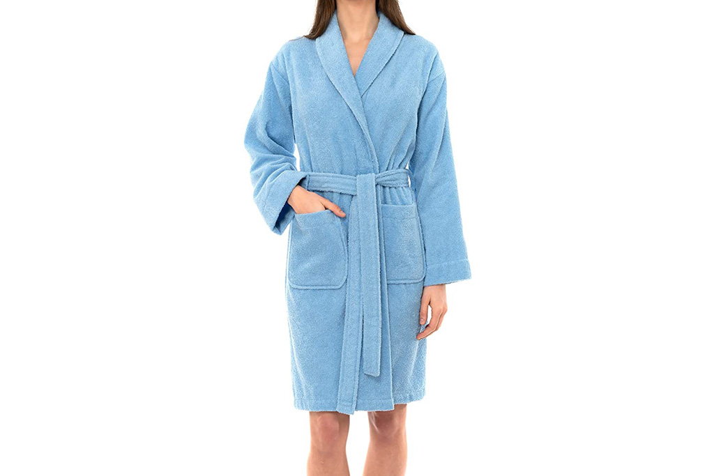 towel selections, robe, terry, blue, short