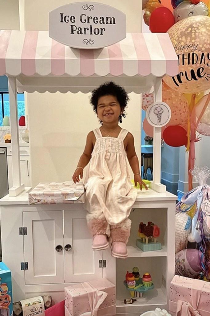 True Thompson, second birthday, pink patchwork uggs, ugg boots, celebrity style, khloe kardashian daughter
