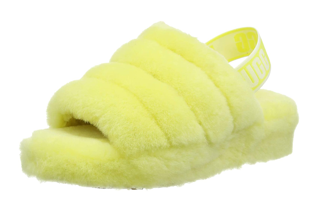 ugg, neon yellow, slides, fluff yeah