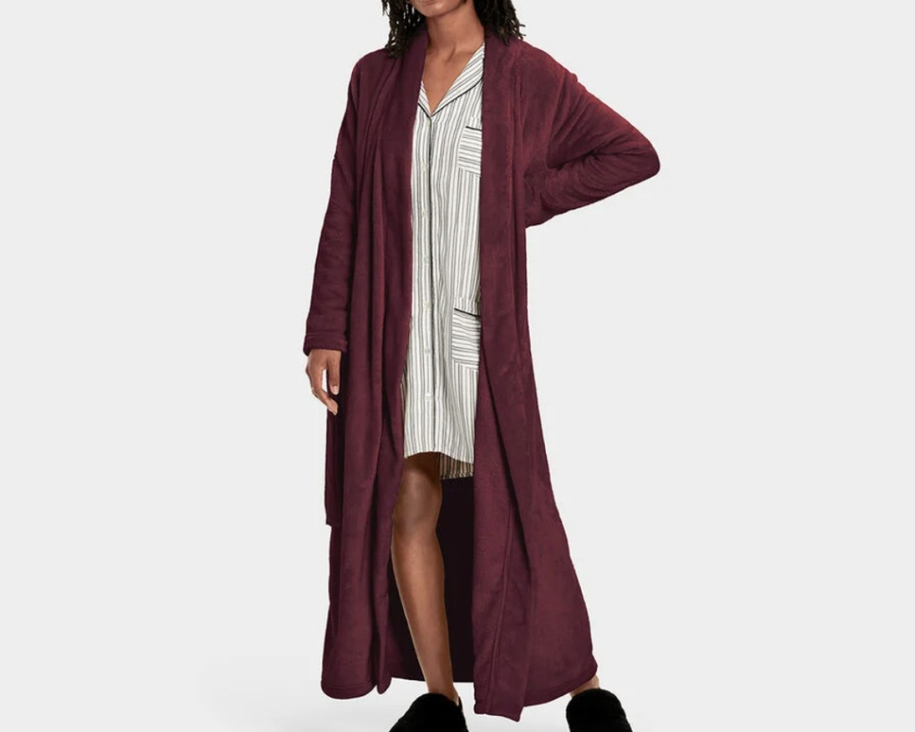 ugg robe, robe, fuzzy, red