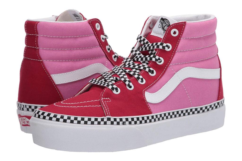 vans, sk8 hi, red, pink, check, high top