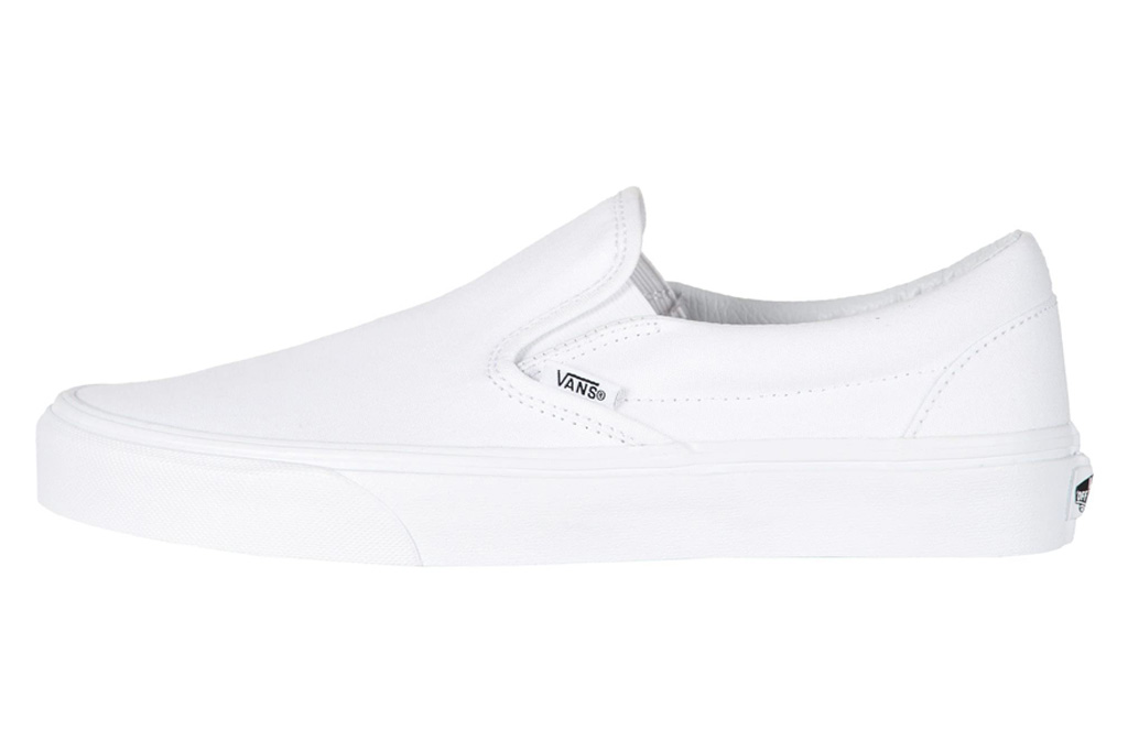 vans, sneakers, slip on, white