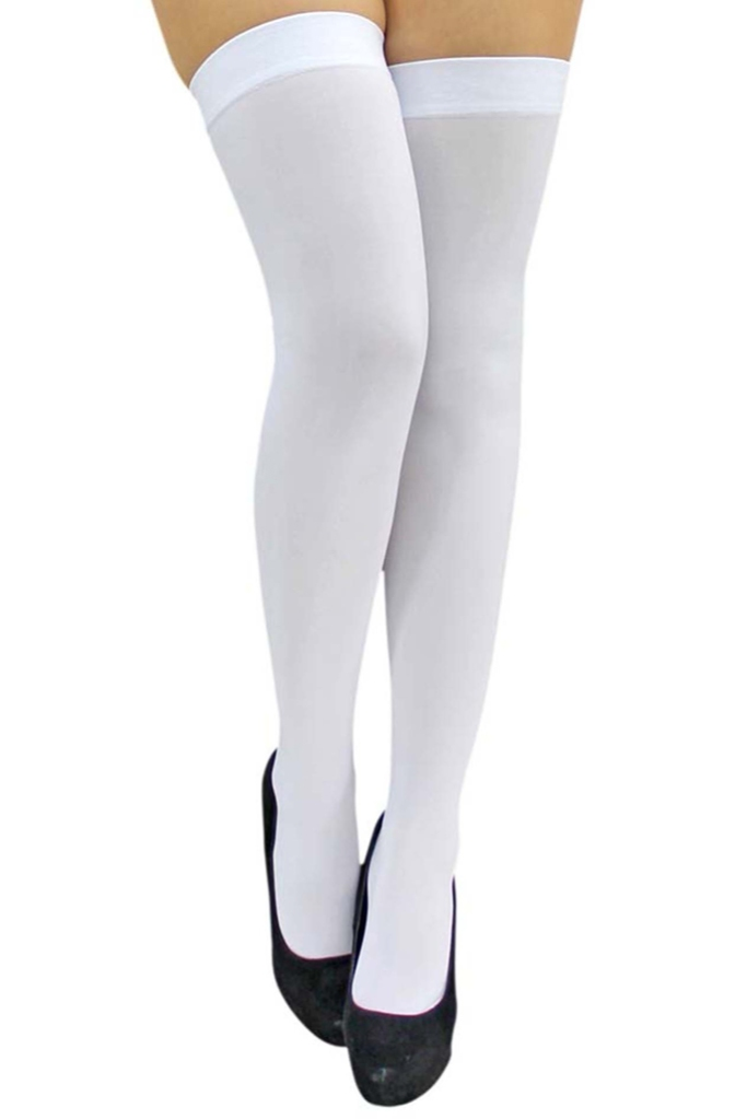 Luxury Divas  All White Opaque Thigh High Womens Stockings