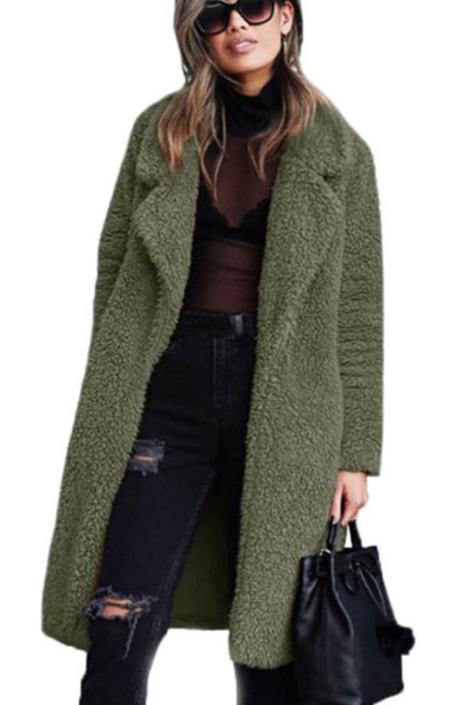 Walmart Fluffy Fleece Trench Coat