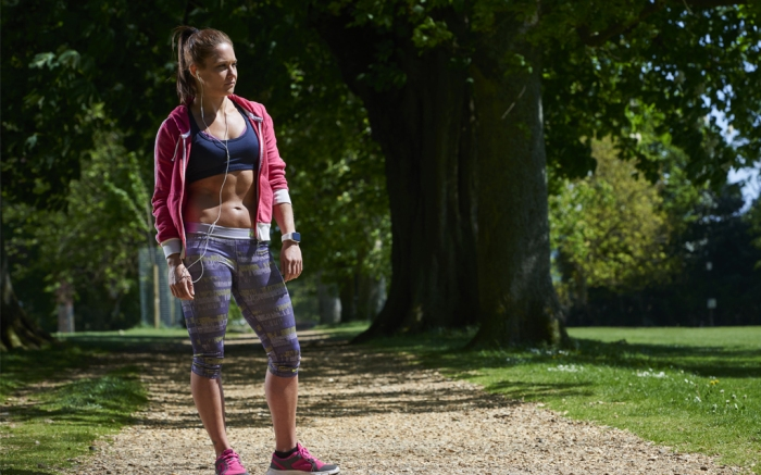 women, running, hoodie