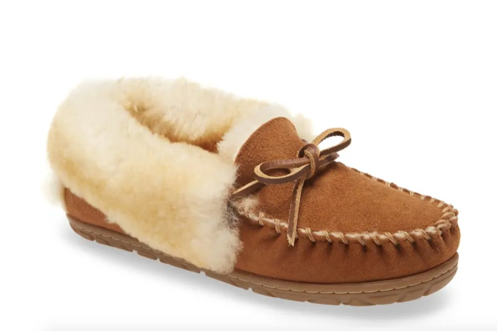 house shoes for women, L.L. Bean Wicked Good Genuine Shearling Moccasin Slipper