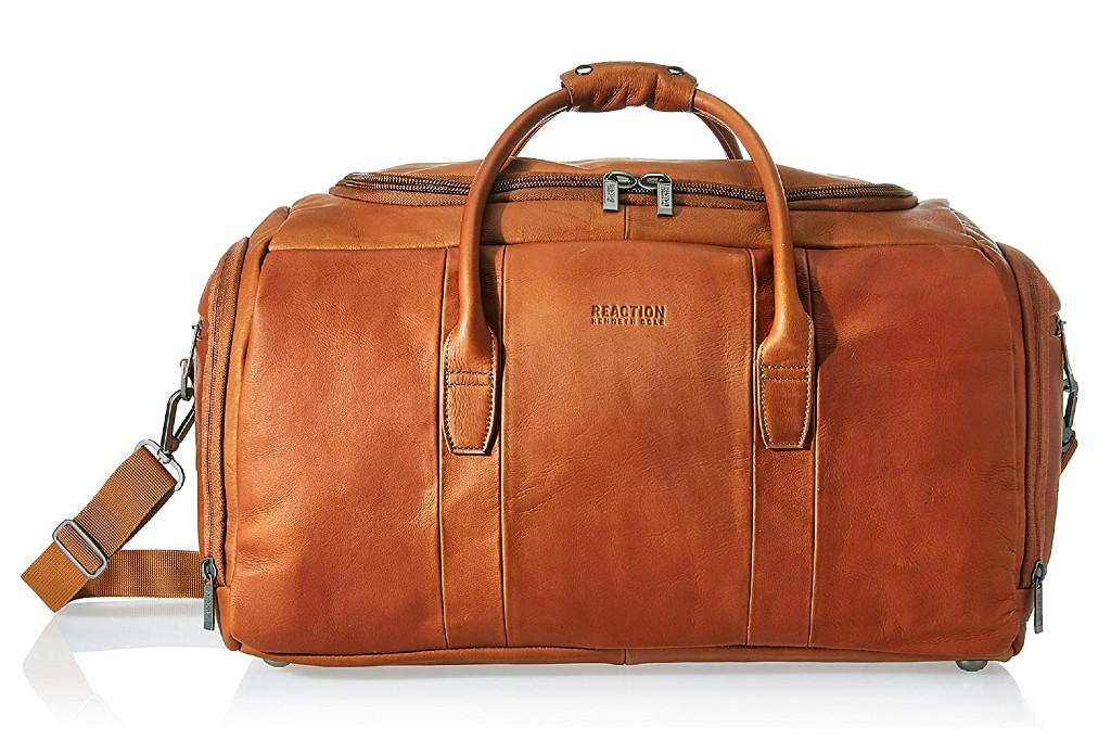 Kenneth Cole Reaction Duff Guy Colombian Leather Travel Duffel Bag, weekender bag