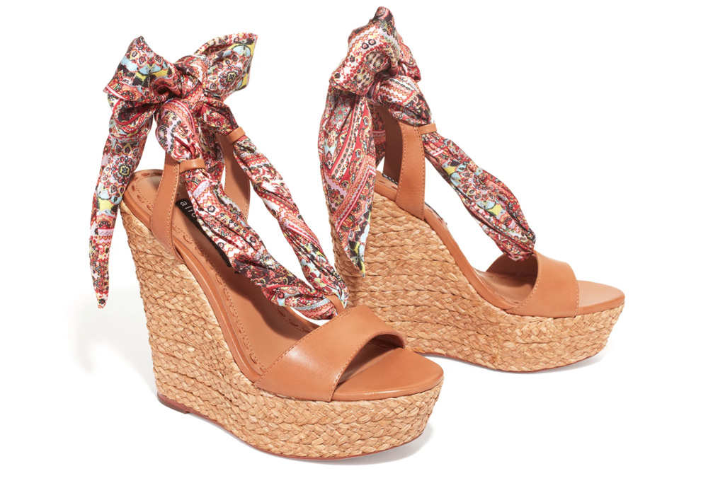 alice & olivia, wedges, ribbon