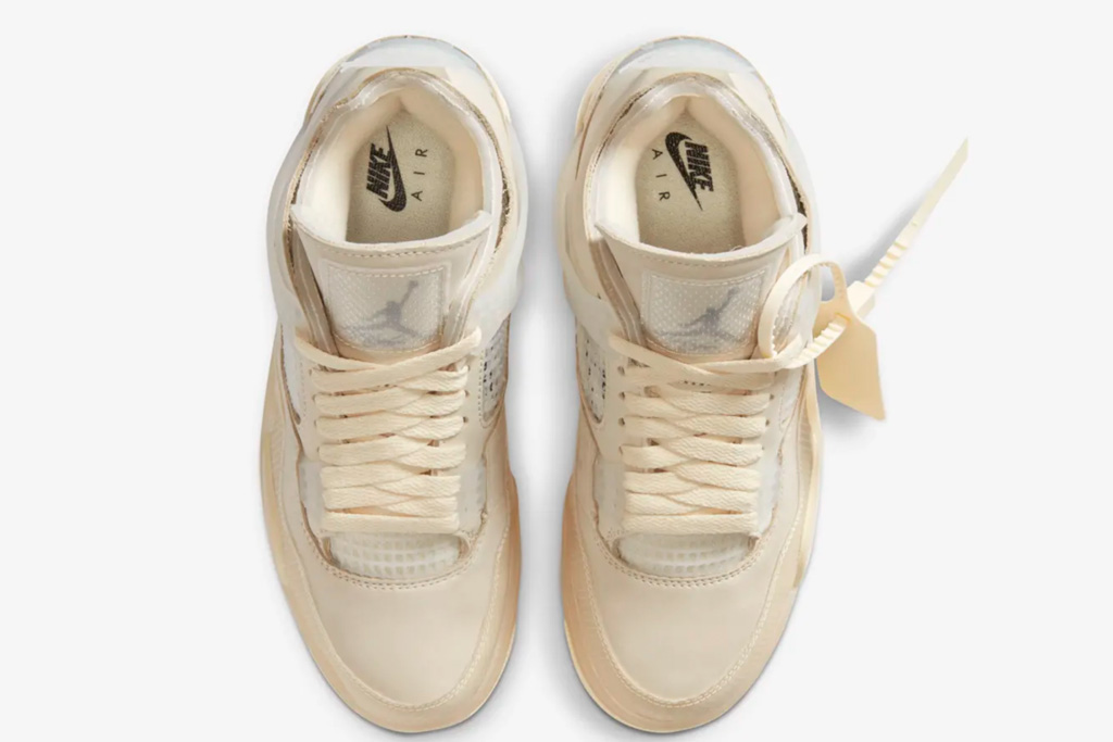 "Off White x Air Jordan 4 ""Sail,"" sail, off-white, sneakers, nike, air jordan, 4"