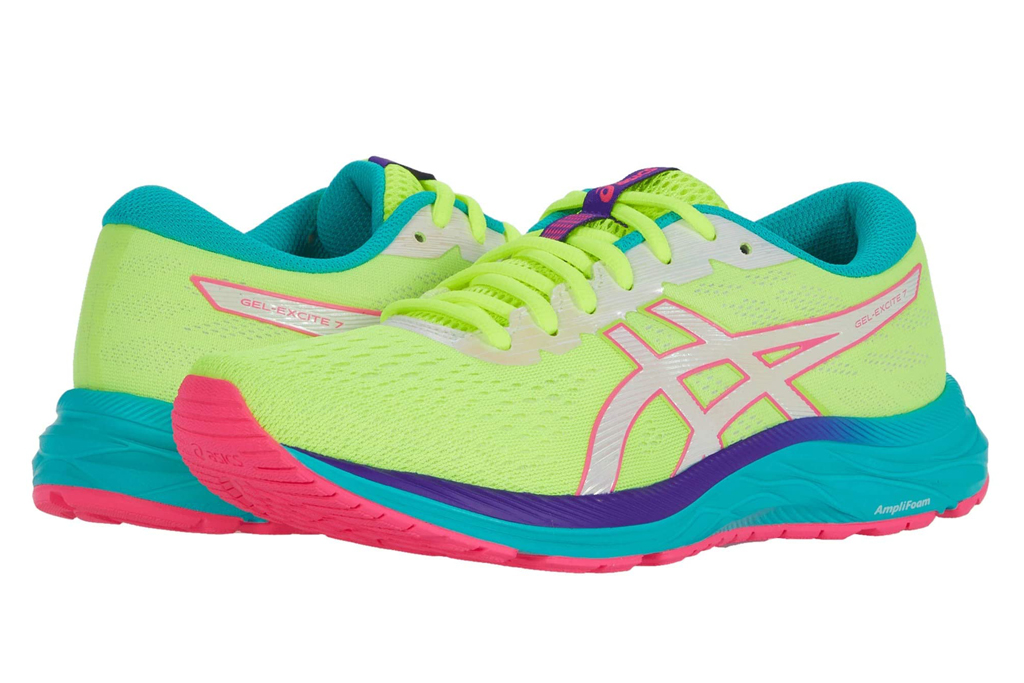 asics, neon, running shoes