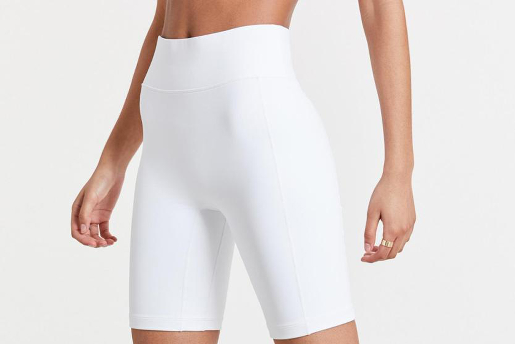 bandier, white biker shorts
