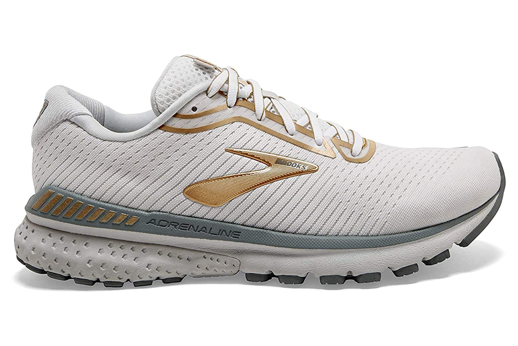 brooks, white, gold, sneakers, running shoes